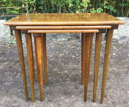 Nest of Three Polished Teak Coffee Tables